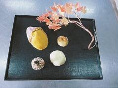 作品4品と工芸菓子「紅葉」
