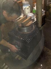 薪でのあずき炊き