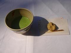 抹茶と栗の茶菓子