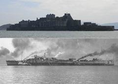 ㊤現在の軍艦島、㊦戦艦土佐