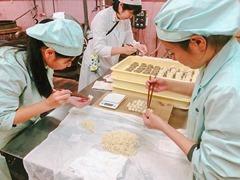 お菓子を作る菓子組合会員と笠田高校の生徒