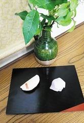 ㊧あかねだすきに菅の笠・㊨唐衣