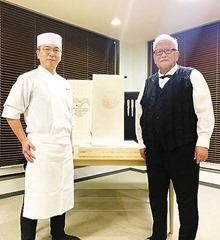 西陣織帯作家 浅野裕尚様(右)と引網香月堂 引網康博氏(左)